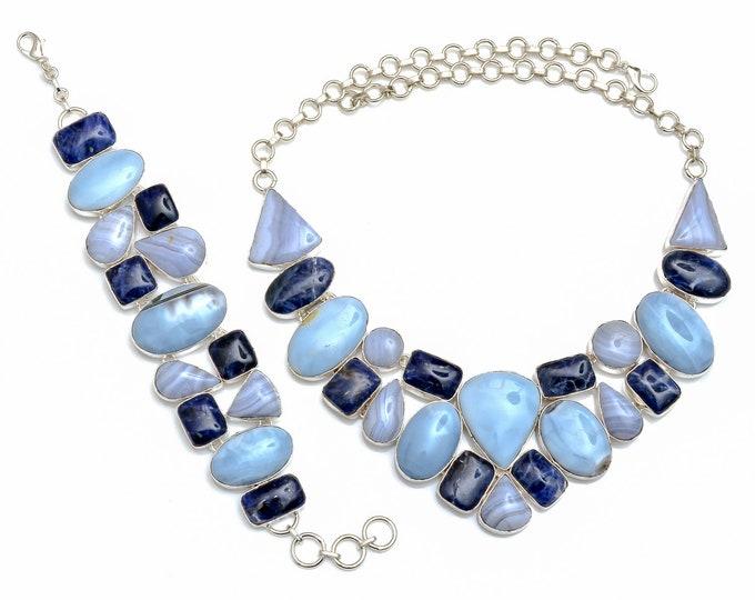 Owyhee Opal Blue lace Agate Sodalite Necklace Bracelet SET1083