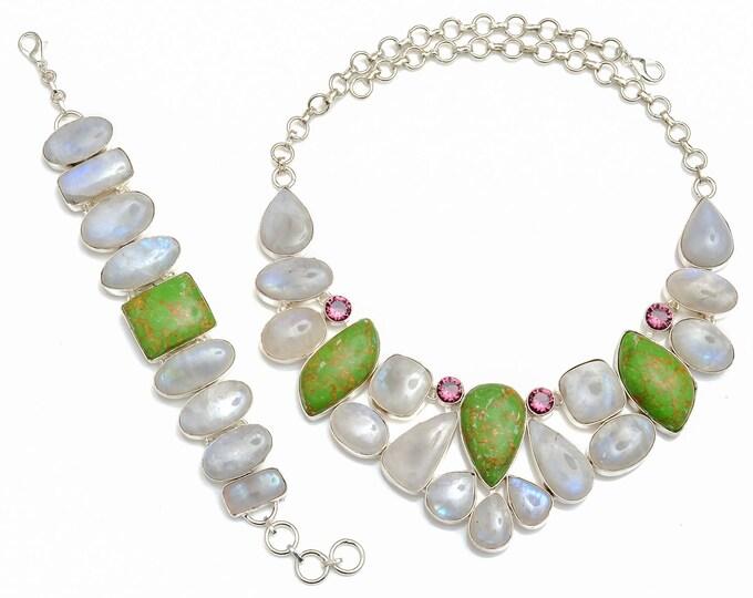 Green Mohave Turquoise Moonstone Necklace Bracelet SET1081