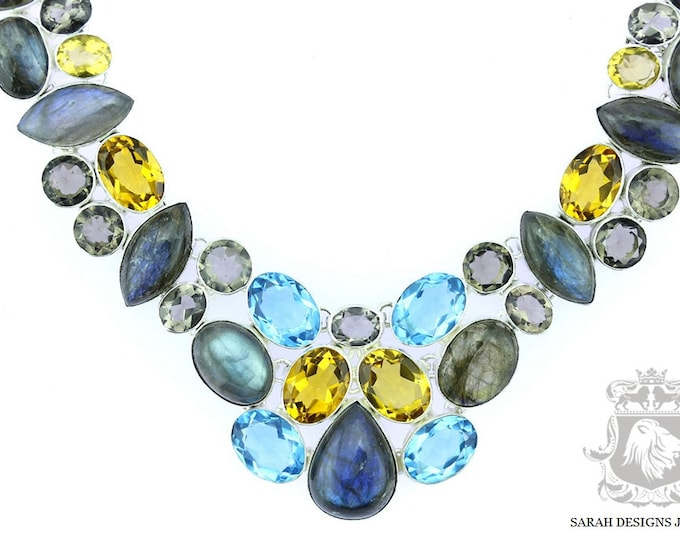 Shop at www.sarahdesignsjewelry.com LABRADORITE Blue Topaz Smokey Quartz Citrine 925 SOLID Sterling Silver Necklace