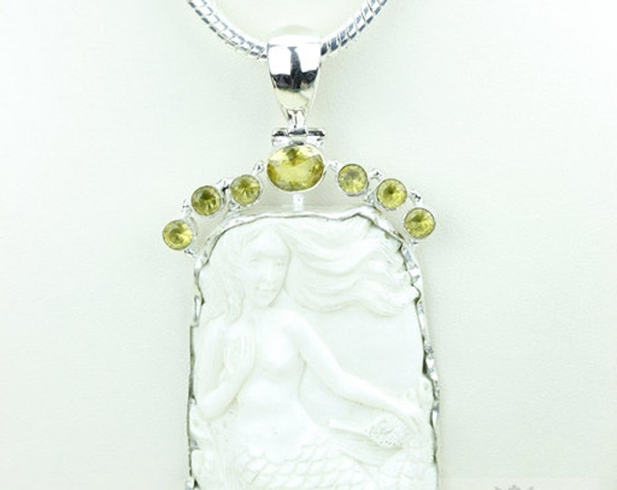 Mermaid Seahorse TOTEM Goddess Face Moon Face Bone Carving 925 S0LID Sterling Silver Pendant + 4MM Chain p3855