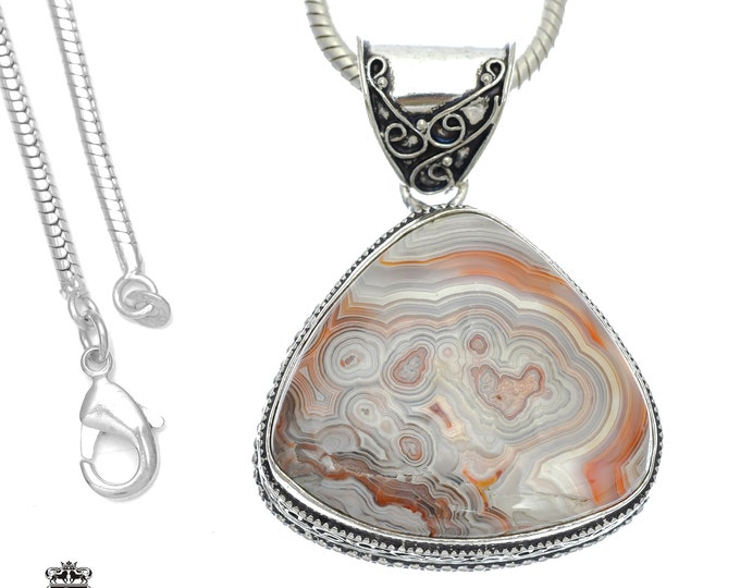 Chubby! Crazy Lace Agate Pendant 4MM Italian Snake Chain V756