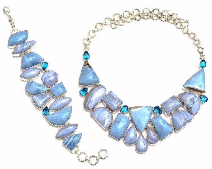 Owyhee Opal Blue Lace Agate Necklace Bracelet SET1068
