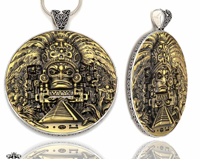 172 Gram Massive 4 Inch Solid Bronze Double Sided Coin Pendant Chain P8704