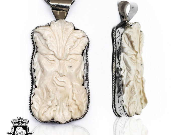 Yum Kaax Mayan God of Agriculture Carving Pendant 4mm Snake Chain N130