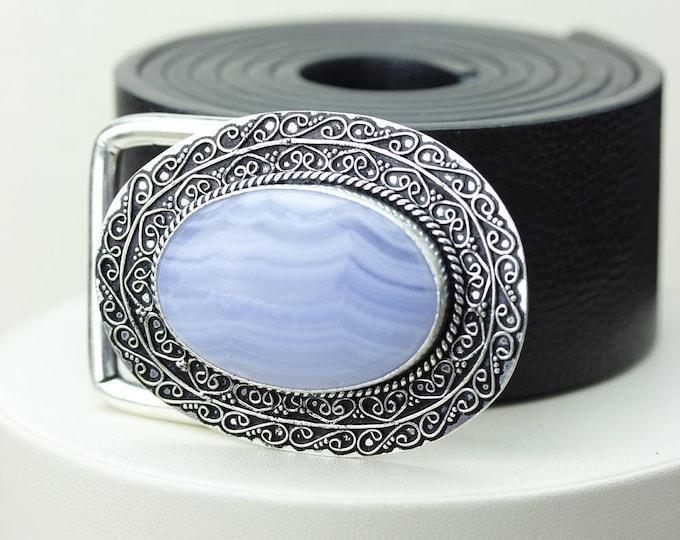 Round Shaped NAMIBIAN Blue Lace Agate Vintage Filigree Antique 925 Fine S0LID Sterling Silver + Copper BELT Buckle T56