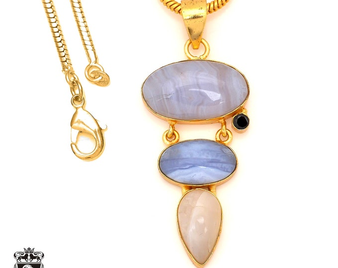 Blue Lace Agate 24K Gold Plated Pendant 3MM Italian Snake Chain GP85
