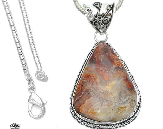 Crazy Lace Agate Pendant 4MM Italian Snake Chain V754
