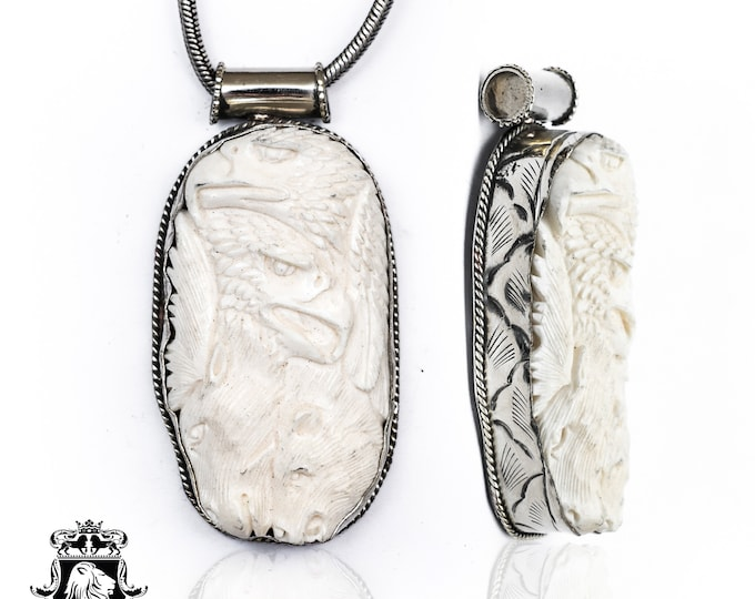 Eagle Wolf Horse Tibetan Repousse Silver Pendant 4MM Italian Snake Chain N152