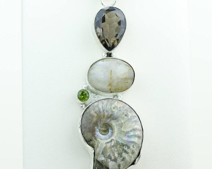 Ammonite Fossil Smokey Topaz Rutile Quartz 925 S0LID Sterling Silver Pendant + 4MM Snake Chain & Worldwide Shipping p4065