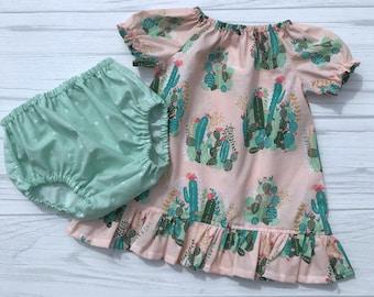 Baby Summer Dress, Baby Dress, Cactus Dress, Baby Girl Clothing, Infant Dress, Toddler Dress, Cactus Ruffle Dress