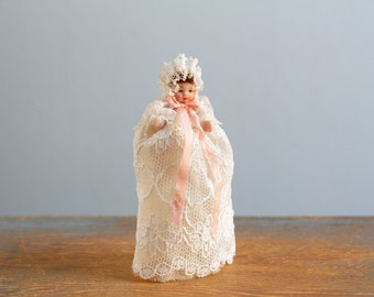 21ef6e2fdcb Vintage Miniature Bisque Porcelain Jointed Baby in a Christening Dress - Dollhouse  Doll