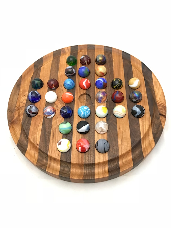 Marble Solitaire Aggravation Board Game Wahoo Sorry Handmade Wood Games Marble Game