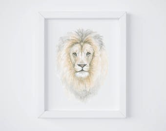 4432a0dc33 Lion Head Art Print - Lion art - Lion Painting - Safari Animal - Safari  Animal Painting - Lion - Watercolor - Home Decor - Lion Head