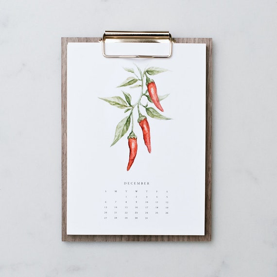 Farm Fresh: 2020 Desk Calendar - Vegetable Calendar with Clipboard Stand -  Farm Calendar - Desktop- gold - Farmhouse - 2020 - Christmas gift