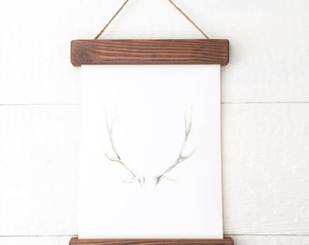 Marco rústico asta impresión asta pintura - acuarela de asta de ciervo - asta pintura - arte de asta de ciervo - decoración para el hogar - hogar-acuarela impresión