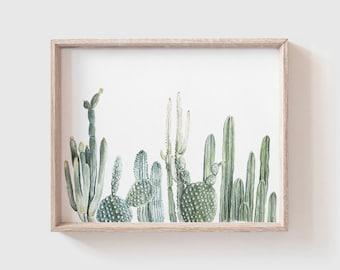 Cactus Row No 1 Art Print - cactus painting - cacti - cactus watercolor - home decor painting - southwestern painting - greenery - cacti art