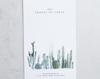Shades of Green: 2022 Wall Calendar - Greenery Calendar - Spiral Bound  - Hanging Wall Calendar - Cactus - Watercolor Calendar - Modern Farm
