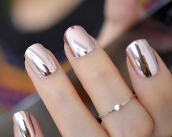 Silver False Nails Stiletto Metallic Shiny Bling Fake Nail Tips Mirror Chrome Artificial Nail Tips