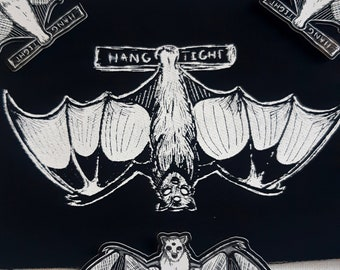 Hang tight bat patch -  Flying fox on branch - original design printed on canvas