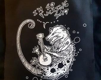 Folk punk banjo opossum patch  - original art