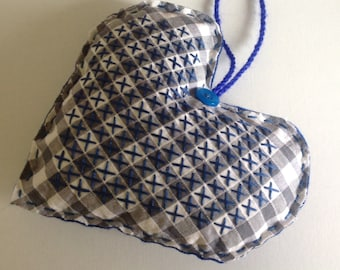 Upcycled Chicken Scratch Cross Stitch Blue Gingham Felt Fabric Country Style Stuffed Hanging Heart Ornament Christmas Decoration
