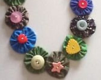 Handstitched Colourful Multi-Coloured Suffolk Puff Yo-Yo Necklace Sewn Buttons - Upcycled Repurposed Recycled Novelty Jewelry Fabric