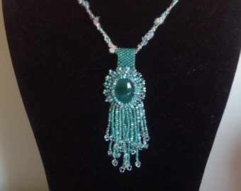 Emerald Forest Green Cats Eye Cabochon Beaded Beadwork Embroidered Braided Fringe Glass Pendant Necklace