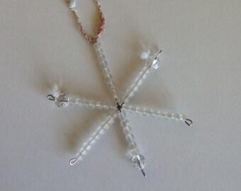 Glass Beaded Snowflake Ornament Suncatcher