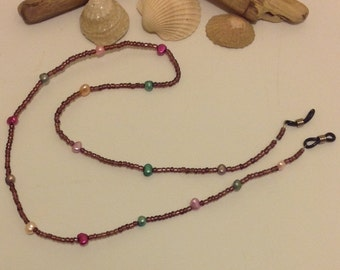 Freshwater Pearl Beaded Glass Amethyst Glasses Chain Cord