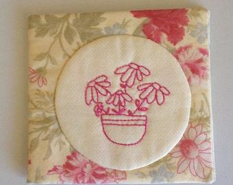 Hand Sewn Embroidered Stitchery Pink Cotton Felt Floral Flowers Needle Case Minder Book Holder