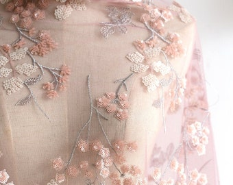 """5/""""*1Y Embroidered Tulle Lace Trim~Light Puple+Cream Pink+White~Festive Spring~"""