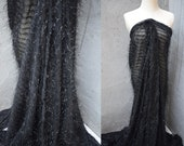Width 59.05 inches lace fabric,black lace fabric,Feather lace fabric,3D lace fabric,tassel lace for DIY dress(222-33)