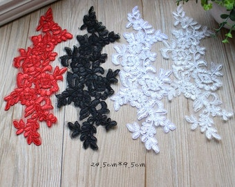 1 Pair Flower Lace Appliques,Embroidered Flowers,Patches For Wedding Supplies,Bridal Hair Flower,Headpiece(56-34)