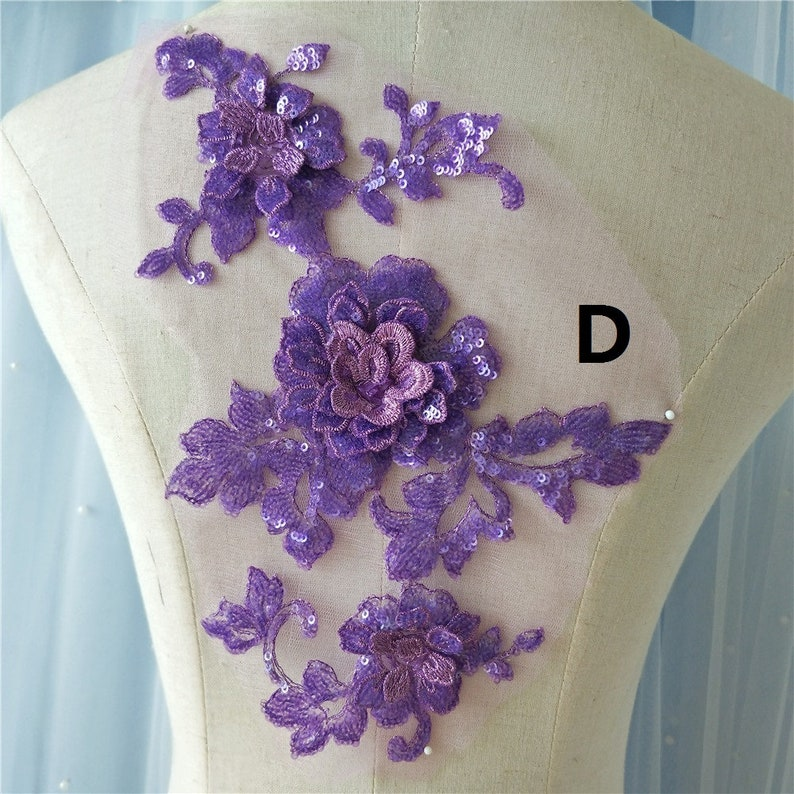120-344 1 pcs Floral Lace Appliques,Multi-color Embroidered beaded Flowers,Patches For Wedding Supplies,Bridal Hair Flower,Headpiece