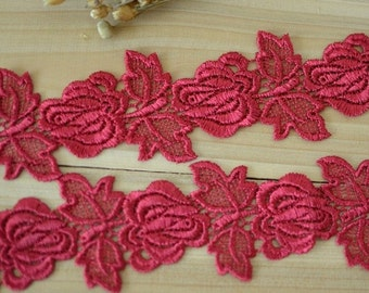 2 yards Width 1.96 inches lace trim,flowers embroidered lace,floral lace trim for bridal veil,lace for DIY dress(69-169)