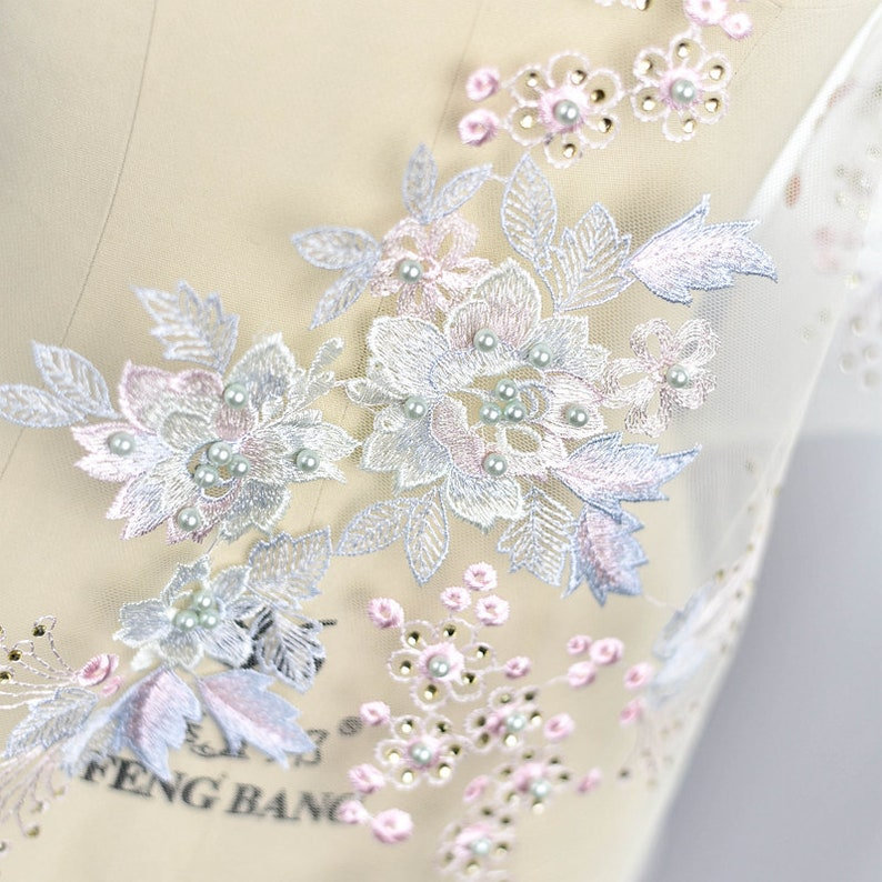 45-173 1 yard Width 51.18 inches sequins wedding fabric,lace,floral 3D lace fabric dress DIY