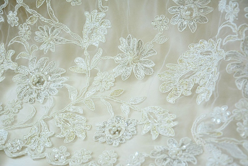 0.5 meter Width 59.05 inches ivory wedding lace fabric,Beaded embroidered lace,floral 3D lace fabric with Sequins 144-6