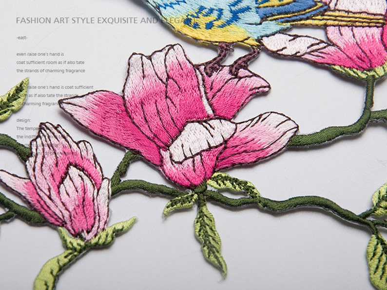 Iron-on Embroidery Birds flowers Appliques,Patches For Wedding DIY Supplies,For Dress,For fashion,Bridal Flower,Headpiece 159-14
