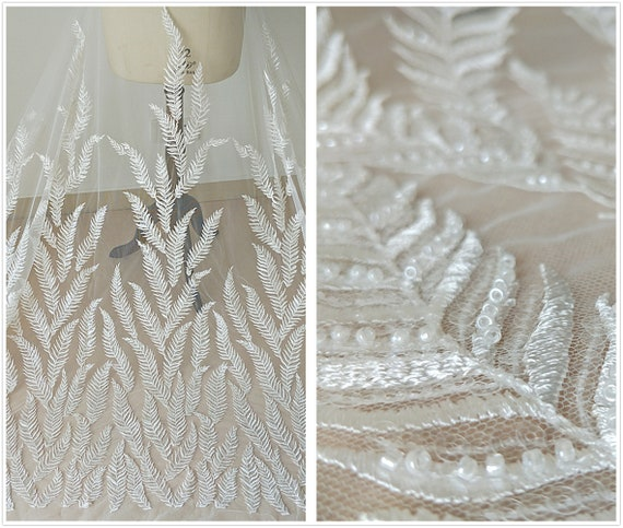 Width 51.18 inches lace fabric,embroidered lace,beaded lace fabric,3D lace fabric,lace for DIY dress 223-11