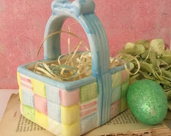 Pastel Easter Basket Planter ~ K's Collection, Small Ceramic Basket, Quilted Basket, Easter Decoration, Easter Vignette, Easter Party Decor