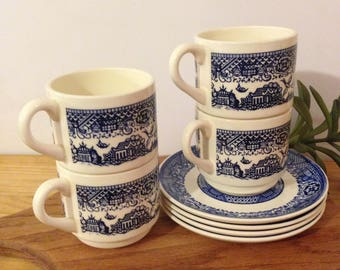 Blue Willow Teacup and Saucer Set of 4 ~ Royal China Willow Ware, Marked USA, Blue Transferware, Restaurant Ware, Oriental Bird Pattern