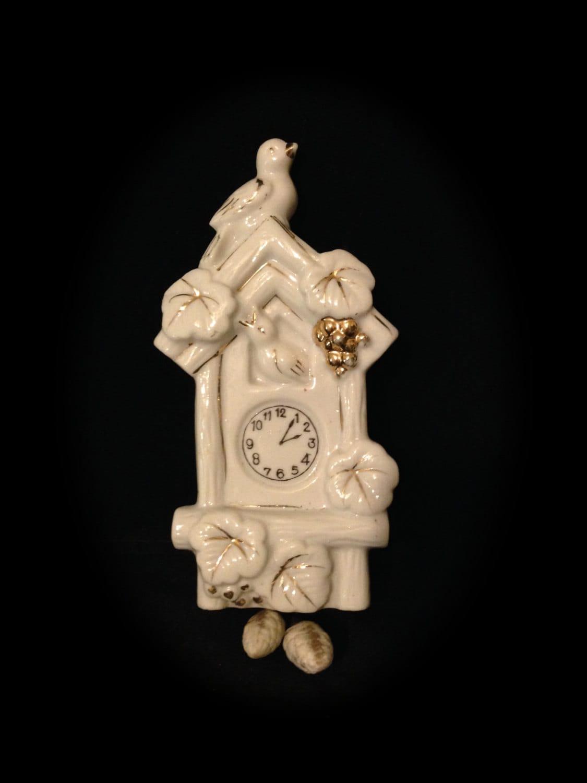 Mini Porcelain Cuckoo Clock Wall Pocket Vase White With
