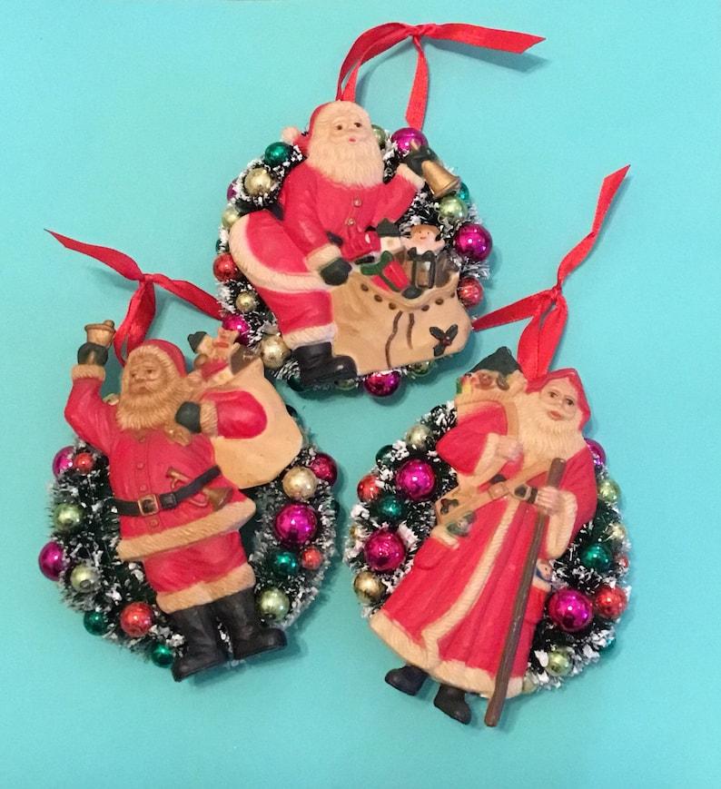 Vintage Santa Claus Ornaments Set Of 3 Old World Christmas Decorations 5 Bottle Brush Wreath Ornaments Old Fashioned Christmas Decor