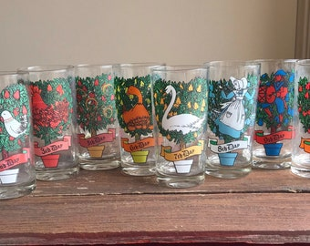 Vintage Twelve 12 Days of Christmas glasses, replacement glasses, lyrics on back