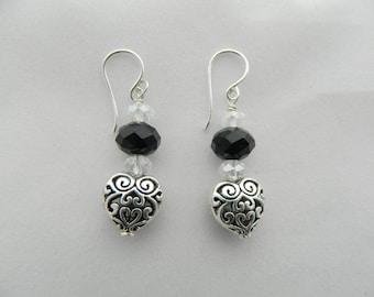 Black Crystal & Silver Heart Earrings