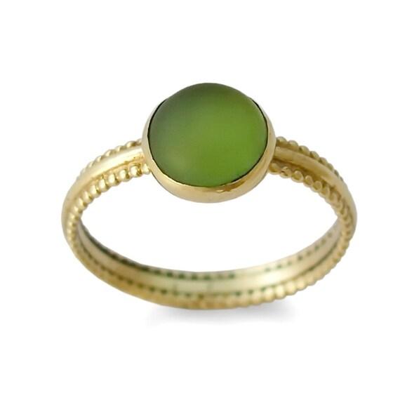 Gruner Stein Gold Ring 14k Gelbgold Runde Grune Quarz Ring Etsy