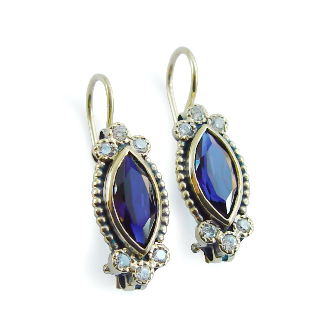 Blue Sapphire wedding earrings Marquise Sapphire Earrings ...