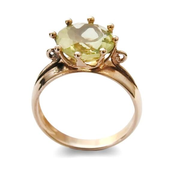 Gruner Stein Verlobungsring Grosse Aussagering 14k Gold Ring Etsy