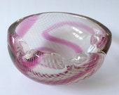 Czech Bohemian Harrachov Harrtil art glass bowl dish ashtray. Pink white lace swirl, Milos Pulpitel. 1950s vintage mid-century 5 3688 Sklo