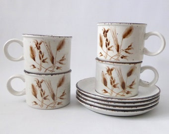 Four Midwinter Stonehenge cups and saucers, 1970s 1980s. Wild Oats brown wheat pottery. Set 4 x Creation retro vintage tea coffee. Dining